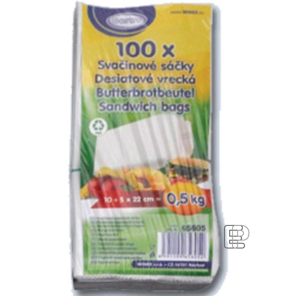 Svačinový sáček 0.5kg papírový 100ks