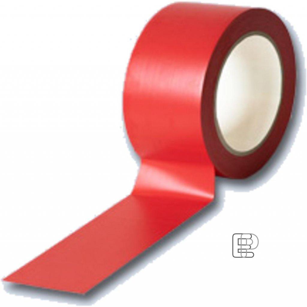 Lepící páska 50/33m PVC vytyčovací červe