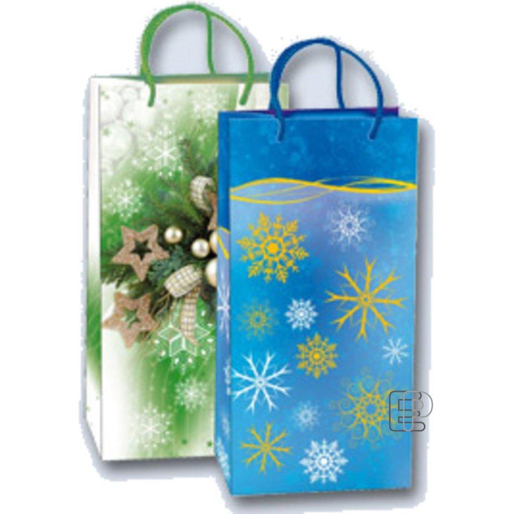 Vánoční taška 2LA na lahev mix180x350x90