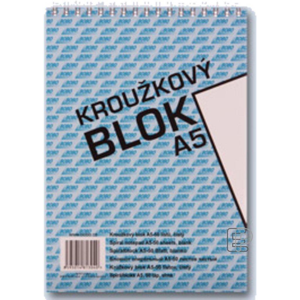 Blok Bobo A5 horní spirála čistý 50l