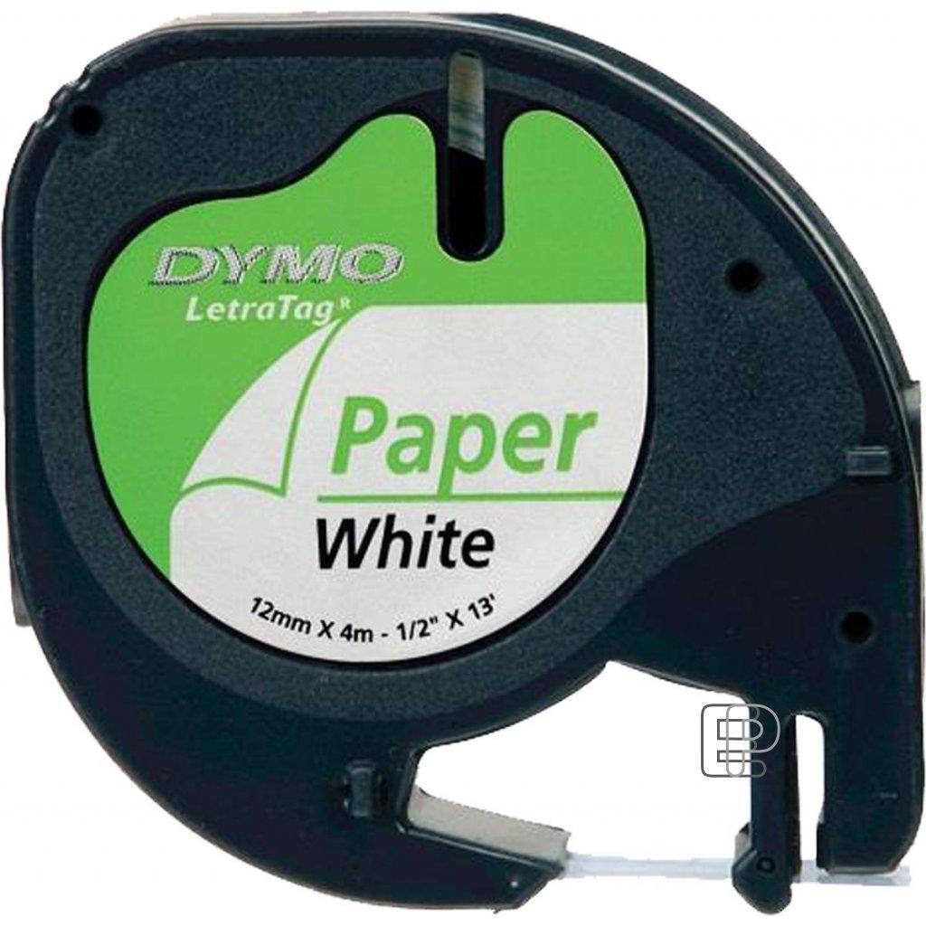 Dymo páska letratag bílá papír. 12mm/4m