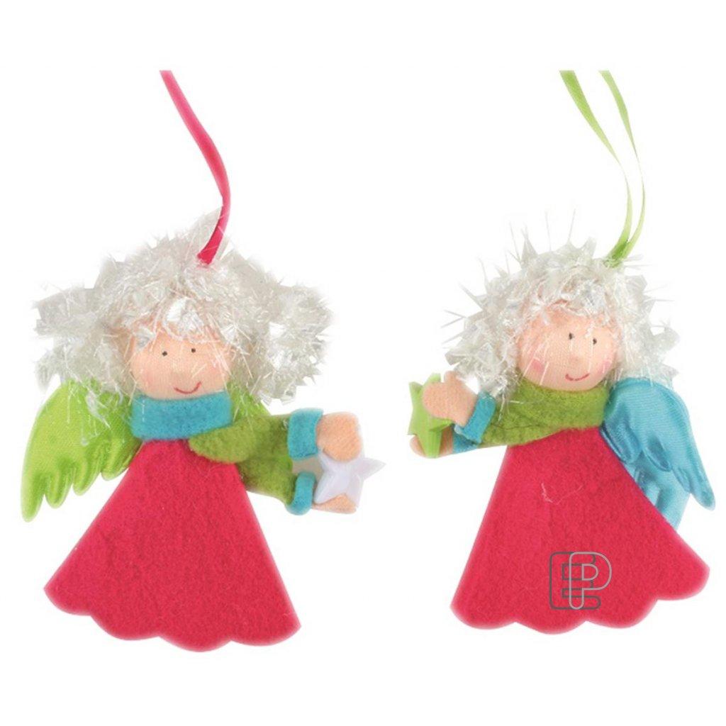 Vánoční anděl pestrý závěsný 10cm