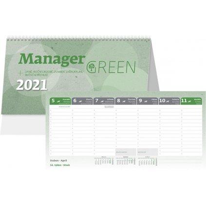 Kalendář s. 2021 Manager Green 246x130