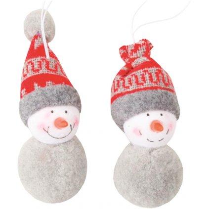 Vánoční Sněhulák plyšový 7cm  2ks
