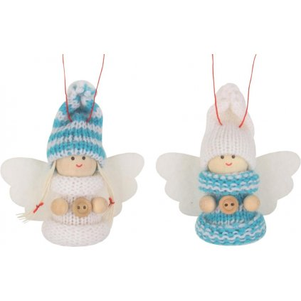 Vánoční Anděl v pletené čepici 7cm