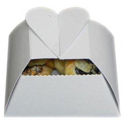 Svatební košíčky bílé srdíčko 50ks