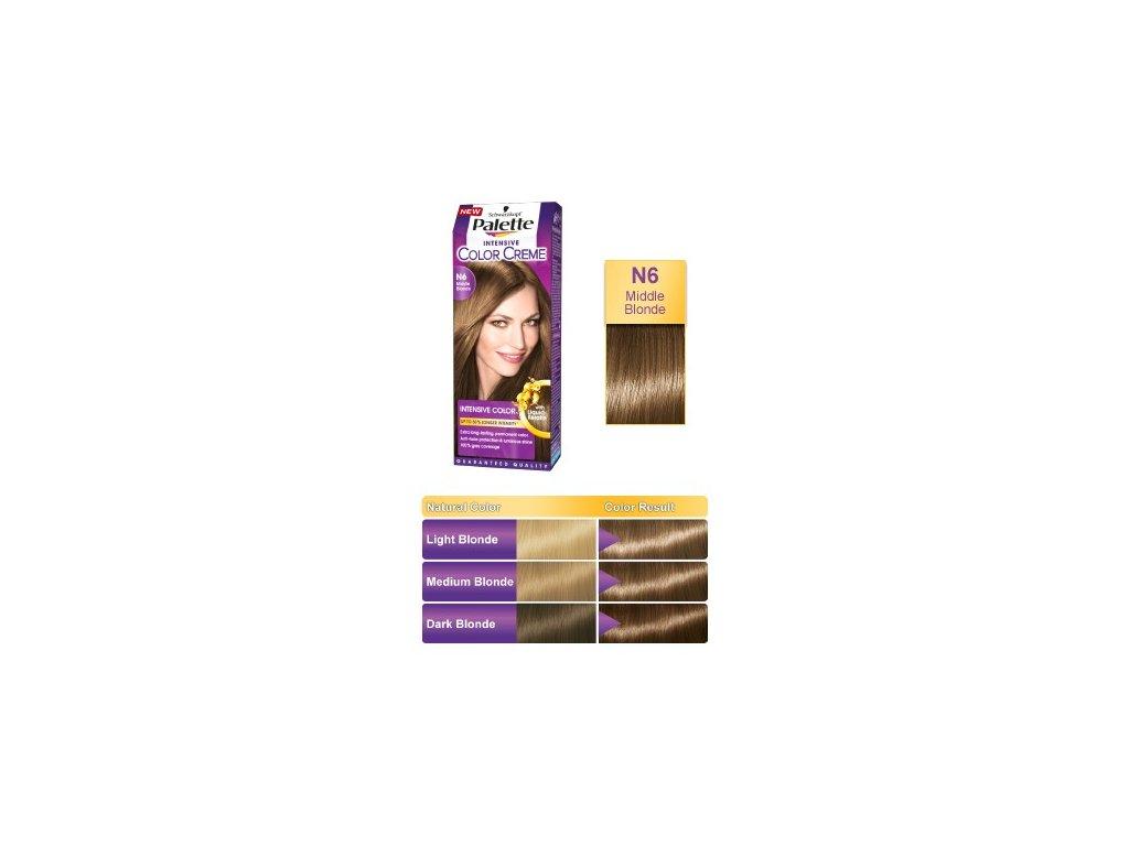 Palette Intensive Color Creme N6 - středně plavá barva na vlasy