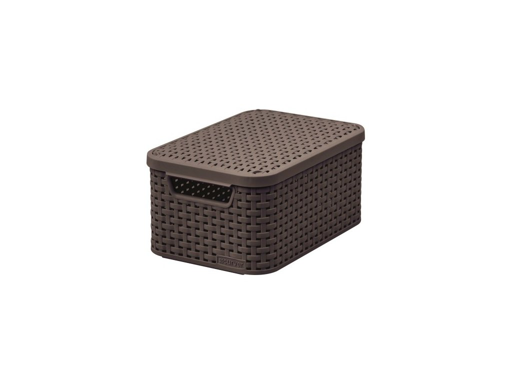 úložný STYLE BOX s víkem - S - tm. hnědý