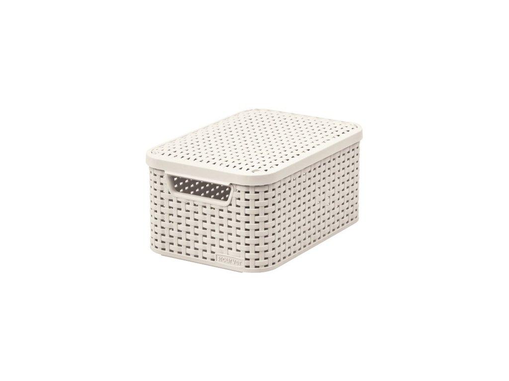 úložný STYLE BOX s víkem - S - krémová