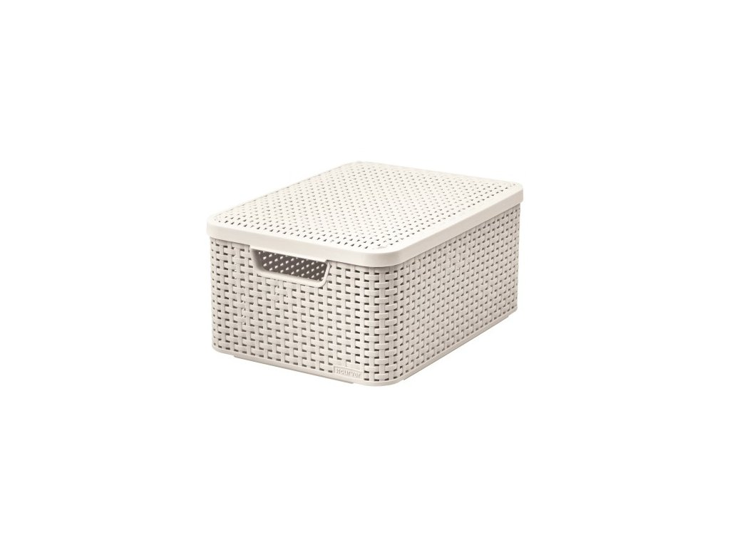 úložný STYLE BOX s víkem - M - krémová