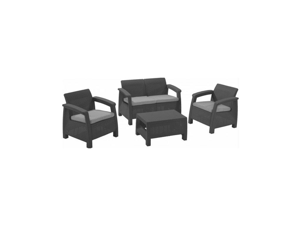 CORFU set - grafit + šedé podušky
