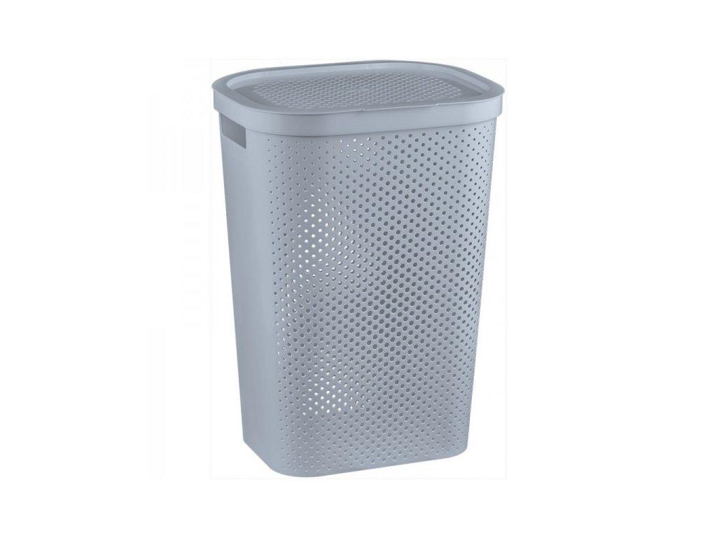 INFINITY DOTS koš na prádlo 59L - šedý