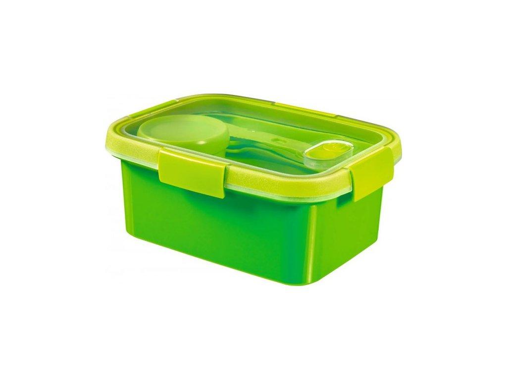 dóza s příborem, táckem a kelímkem SMART TO GO 1,2L - zelená