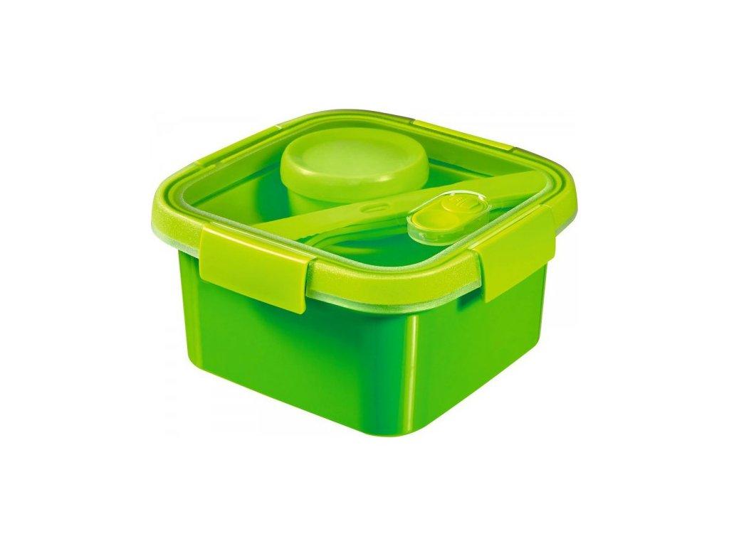 dóza s příborem, táckem a kelímkem SMART TO GO 1,1L - zelená