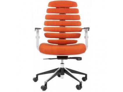 MERCURY - židle FISH BONES šedý plast,oranžová látka SH05