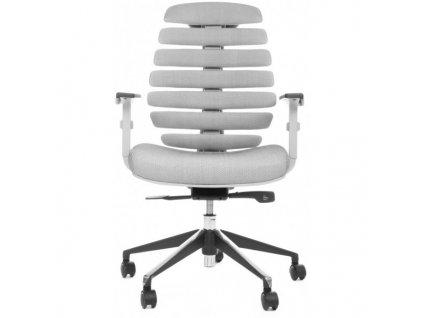 MERCURY - židle FISH BONES šedý plast,šedá látka s černou mřížkou SH04