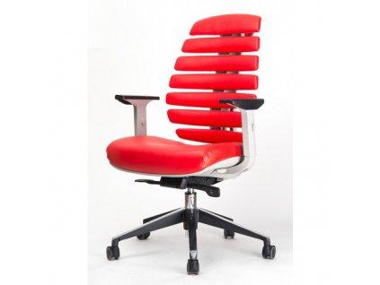 MERCURY - židle FISH BONES šedý plast, červená kůže
