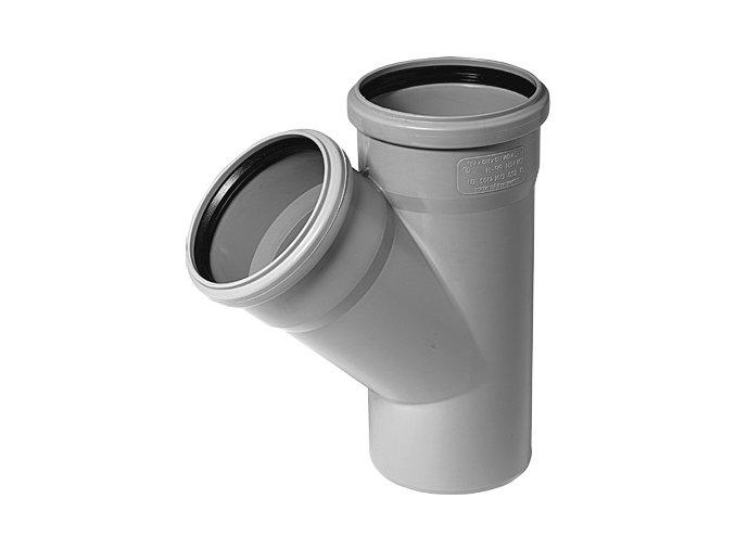 Tvarovka HT Odbočka HTEA plastová odpadní DN 70/50, 45° - vnitřní šedá