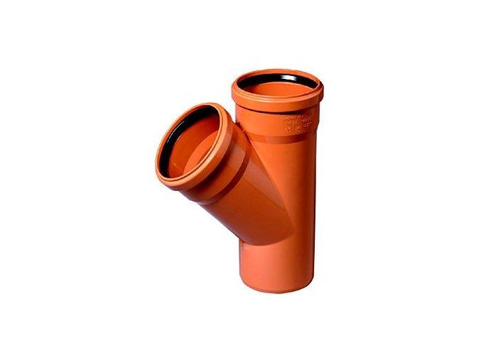 Tvarovka KG odbočka -KGEA plastová odpadní DN 110/110, 45° - venkovní oranžová