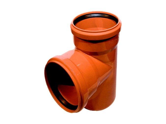 Tvarovka KG odbočka -KGEA plastová odpadní DN 125/125, 87° - venkovní oranžová