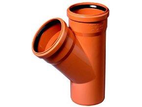 Tvarovka KG odbočka -KGEA plastová odpadní DN 200/200, 45° - venkovní oranžová