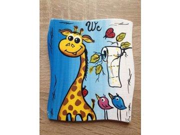 Dřevěná cedulka na dveře - WC - žirafa