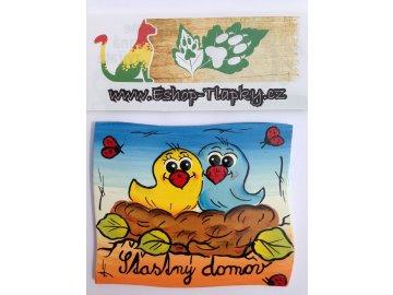 Dřevěná cedulka na dveře - ŠŤATNÝ DOMOV - ptáčci