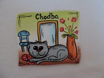 Dřevěná cedulka na dveře - CHODBA - kočička