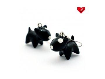 3D náušnice - Bulteriér černý