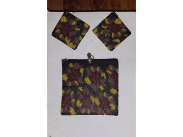 Sada - náušnice + přívěsek (hnědá květy)