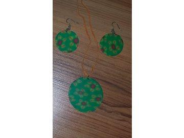 Sada - náušnice + náhrdelník (zelená) 2