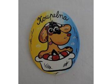 Dřevěná cedulka na dveře - KOUPELNA ovál pes