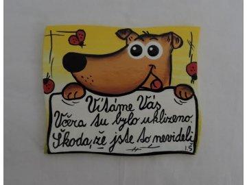 Dřevěná cedulka na dveře - VÍTÁME VÁS - pes