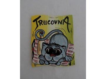Dřevěná cedulka na dveře - TRUCOVNA - kočka
