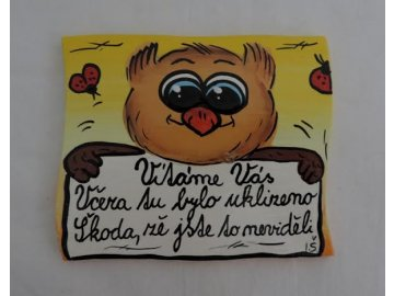 Dřevěná cedulka na dveře - VÍTÁME VÁS - sova