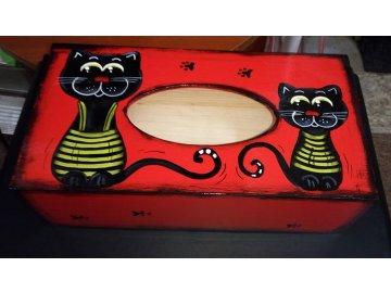 Dřevěná krabička na kapesníky - červená kočky