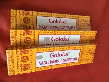 Indické vonné tyčinky Goloka Nag champa 40g žluté