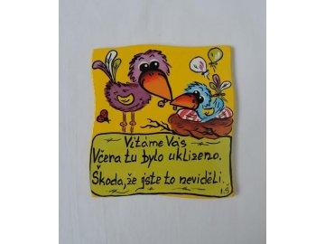Dřevěná cedulka na dveře - VÍTÁME VÁS - ptáčci (12cm)