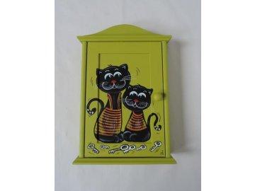 Schránka/domeček na klíče - Kočky zelená