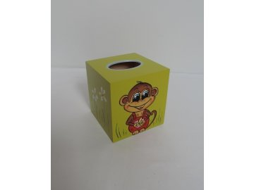 Dřevěná krabička na kapesníky OPIČKY