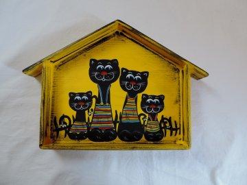 Věšák na klíče 38x28cm kočky