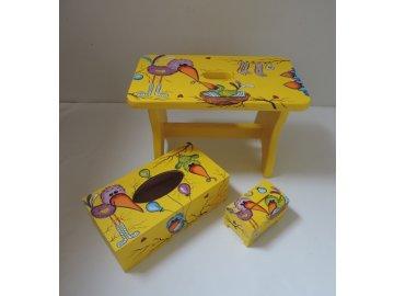 Dětská sada - stolička + pokladnička + krabička na kapesníky