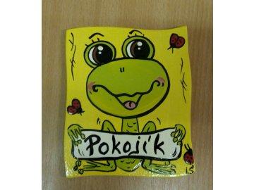 Dřevěná cedulka na dveře - POKOJÍK - žába