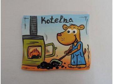Dřevěná cedulka na dveře - KOTELNA - pes
