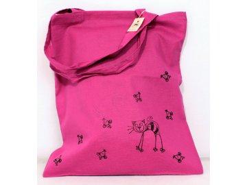 Taška plátěná růžová - kočička a myši