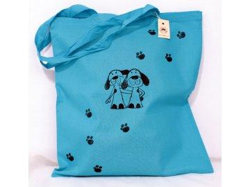 Taška plátěná modrá - pejsci