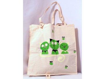 Taška velká - zelené kočky