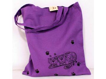 Taška plátěná fialová - tři kočky