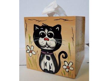 Dřevěná krabička na kapesníky KOČKA
