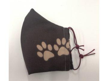 textilní rouška s kapsou na filtr psí tlapky